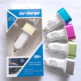 Wholesale Charger Stick Usb - Best Metal Dual USB Port Car Charger Universal 2 Amp for Apple iPhone iPad iPod Samsung Galaxy Motorola Droid Nokia Htc US01