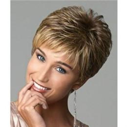 Wholesale Wig Short White - Synthetic Short Blonde Ombre Wigs for Black White Women High Heat Fiber Pelucas Sinteticas Rubias Perruque Courte Perucas Wigs