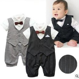 Wholesale Long Sleeve Baby Romper Tuxedo - Baby Boy Tuxedo Romper Suit Newborn Boys One Pieces Rompers Baby Boy Formal Clothes Infant Gentleman Jumpsuit Bebes Rompe hy176