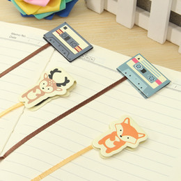 Wholesale Ribbon Bookmarks - Wholesale- Lovely Animal Tape Design Magnetic Long Tail Bookmarks With Ribbon Books Marker of Page Stationery Office Supply Kids Rewarding
