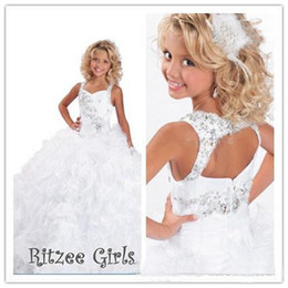 Wholesale Glitzy Beads - Girls Pageant Ritzee Girls Glitzy Kids Flower Party Evening Prom Dresses Ball gown Square Floor-length 2017 Summer New Arrival