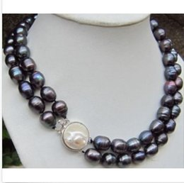 Wholesale Baroque Tahitian Pearl Necklace - Real beautiful tahitian 11-13mm black baroque pearl necklace 18""