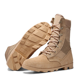 Wholesale Tactical Boot Desert Sand - US Army Men's Outdoor Genuine Full Grain Leather Desert Tactics Combat Boots Men Military Tactical Boots Botas Hombre Chaussures B31003