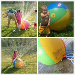 Wholesale Outdoor Balloons - 30pcs Inflatable Beach Water Ball Outdoor Sprinkler Summer Inflatable Water Spray Balloon Outdoors Play In The Water Beach Ball 60cm