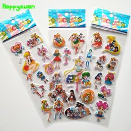 Wholesale Toy Organs - Happyxuan 50 sheets lot Cute 3d Cartoon Sailor Moon Puffy Stickers Learning Early Kids Girls Classic Toys