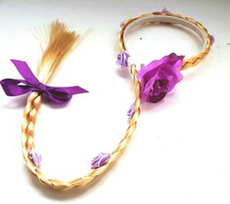 Wholesale Plastic Kids Hair Accessories - 2017 children Princess Cosplay Wig baby Hair Accessories kids princess braid Hair Sticks for Halloween and Christmas 7 styles C2644