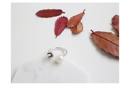 Wholesale Sterling Silver Freshwater Pearl Ring - AR1010 fashion S925 silver fashion retro freshwater pearl opening ring