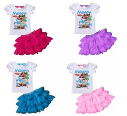 Wholesale Girls Purple Tutu Set - Moana Girls Print Dream Tropical Ocean 2piece sets Baby Kids Moana dress Children Short Sleeve t shirt+tutu skirt suits 2017 Summer clothing