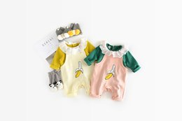 Wholesale Korean Wholesale Newborn Clothing - Newborn cute rompers autumn Korean style baby unisex printed cotton banana jumpsuit infants suspender fashion clothes C0941