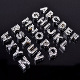 Wholesale Diy Pet Collar Necklace - 10mm Zinc Alloy Silvery Color A-Z Full Diamond Letters Charming DIY Dog Tag ID Card Fit Pet Collar Necklace&Bracelets Phone Charms Mix Order