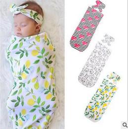 Wholesale Baby Boy Sleep Bag - Babies kids sleeping bag baby girls boys lemon printed swaddle+bows hair bands 2pc sets Newborn cute cat muslin blanket Infant blanket T0183