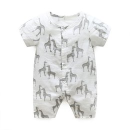 Wholesale Wholesale Cozy - baby romper New 2017 Cartoon Giraffe soft Cozy Short Sleeve Boys Onesie Summer Cotton Printed Newborn Bodysuit Infant Jumpsuit C851