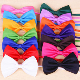 Wholesale Bow Supplies - Free shipping Wholesale 50pcs lot Dog Children Neck Tie Bow Cat Tie Supplies Pet Headdress adjustable Baby bow tie