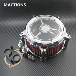 Wholesale Motorcycle Chrome Air Cleaner - Air Cleaner Intake Filter Chrome CNC Crafts Fit For Harley Motorcycle Sportster Road King Gliding Softtail Dyna