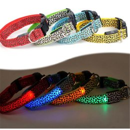 Wholesale Leather Leopard Large Dog Collar - Adjustable Leopard LED Lights Glow Pets Collars,Nylon Pet Dog Cat Night Safety Luminous Flashing Necklace Pet Supplies S-XL
