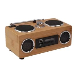 Wholesale Make Rechargeable Battery - Wholesale-Mini Portable Bamboo Wood Boombox FM Radio Receiver Eco-friendly Hand-made Speaker Music Player With Wireless Remote Control