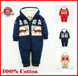 Wholesale Thick Tutu - Baby Romper Children's Wear Baby Clothing in Autumn Winter New Christmas elk baby Thick Clothes climbing clothes ouc025