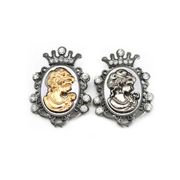 Wholesale Crystal Crown Brooch - Men Jewelr Vintage Victoria Brooch Pin Rhinestone Crown Queen Head Portrait Brooches Corsage for Women Jewelry Lot 12 Pcs