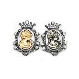Wholesale Men Wedding Crowns - Men Jewelr Vintage Victoria Brooch Pin Rhinestone Crown Queen Head Portrait Brooches Corsage for Women Jewelry Lot 12 Pcs
