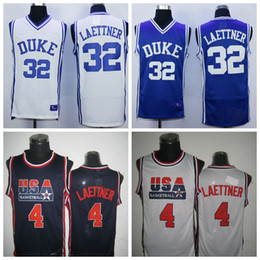 Wholesale Basketball Jersey Usa - Devils Basketball 32 Christian Laettner Jersey Duke Blue Shirts Uniforms 1992 USA Dream Team 4 Christian Laettner Jersey Navy Blue White