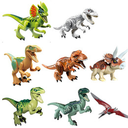 Wholesale Mini Worlds - 8 Pieces Lot Jurassic World Park Dinosaur Bricks Mini Animals Figures Building Blocks Super Heroes Baby Compatible Toys