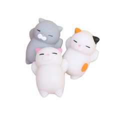 Wholesale Kid Cellphones - 100pcs DHL Cute Mochi Squishy Cat Squeeze Healing Fun Kids Kawaii Toy Stress Reliever Decor Paste on Cellphone cases + Packing