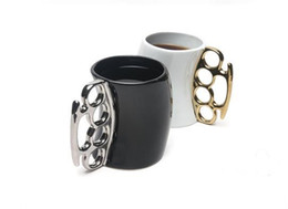 Wholesale Wholesale Brass Knuckle Mug - Wholesale- 2016 new hot Fisticup Brass Knuckle Duster Handle Coffee Milk Ceramic Mug Cup Fist Cup Gift free shipping
