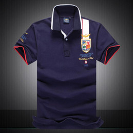 Wholesale Mens Brand Polo Shirt - mens polo tees brand blusa shirts masculina AERONAUTICA MEN Plus Size camisa shark polo masculina shirt men air force one 1