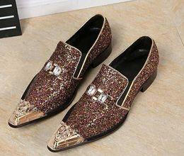 Wholesale Dress Classic Shoes Men - mens dress shoes loafers Korean Fashion genuine leather fashion classic rhinestone Business ol mens italian dress shoe