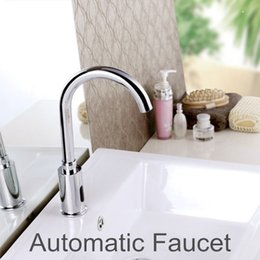 Wholesale Automatic Mixer Faucet - Wholesale- 100%Brass Automatic Sensor Faucets Cold and Hot Water Mixer Sense Faucet Basin Hand Washer DC6V AC110~220V