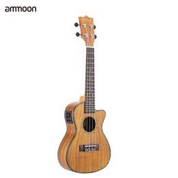 "Wholesale Solid Koa - Wholesale- ammoon 24"" Cutaway Ukulele Hawaii Guitar with LED EQ Koa Plywood Cowry Shell Brims OX Bone Saddle 4 Strings Instrument Gift"