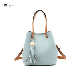 Wholesale Drawstring Bucket Bag Handbag - 2017 huapin The latest shoulder bag female PU oblique bag Tassel handbag Fashion simple buckets free delivery