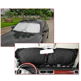 Wholesale Solar Car Cover - Wholesale- Front Rear Windshield Car Window Foldable Shade Shield Cover Visor UV Block for All Cars High Quality Solar Protection