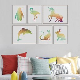 Wholesale Giraffe Sheets - Original Modern 3D Geometric Abstract Animal Lion Horse Giraffe Canvas A4 Print Poster Wall Picture Home Decor Painting No Frame