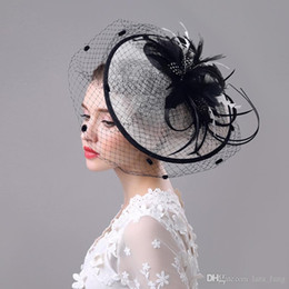 Wholesale Retro Fascinator - 2016 Rushed Bridal Wedding Hats Handmade Retro White Gauze Flax Yarn British Royal Exaggerated Big Tire Disc The Bride free Shipping