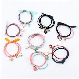Wholesale Elastic Band Metal Ring - Ribbon Colorful Headwear 1pack=3pcs Children Hair Ring Babys Gum for Hair Metal Rubber Rope Girls Ponytail Elastic Hair Bands