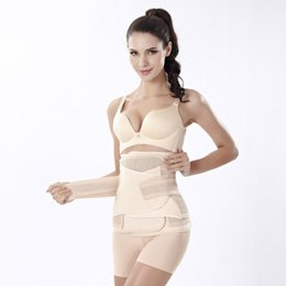 Wholesale Waist Cincher Sets - 2017 New Postpartum Waist Corset Slimming Body Cincher Trainer Body Weight Loss Tummy Belt Women Shapewear Plus Size Three Pieces sets