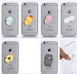 Wholesale 3d Case Tiger - Anti-anxiety Decompression 3D Cartoon Soft TPU Case For Iphone 7 Plus 6 6S SE 5 5S Silicone Cute Lovely Pig Rabbit Duck Bear Tiger Cover