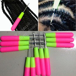 Wholesale Hair Feather Extensions - Plastic Hook Needles 50pcs Crochet Braid Needle Feather Hair Extension Tools Wig Threader Knitting Hair Crochet Needles To Install Braiding
