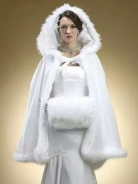 Wholesale Hooded Fur Cape Shawl - 2018 New Free Shipping Short Faux Fur Coat for Wedding Hooded Bridal Cape Winter Wraps Cape Shawl