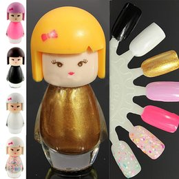 Wholesale Doll Nail Polish - Wholesale-New Fashion Cute Lovely Baby Doll Design Nail Art Polish Bright Glitter Pure Color Varnish Beauty Makeup Tool