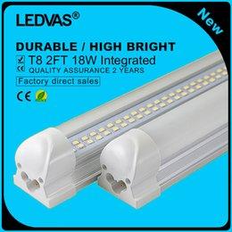 Wholesale T8 Smd Led Tube Strips - 2-Pack 18W T8 LED Tubes 2Ft LED Integrated Tube Lights Double Strips 30cm 144led Light Lamp Bulb 2feet 60cm AC85-265V