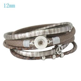 Wholesale Gs Jewelry - Wholesale-Partnerbeads Jewelry Interchangeable PU Leather 12mm Ginger Snap Jewelry Charm Bracelet Free Shipping KC0201-GS