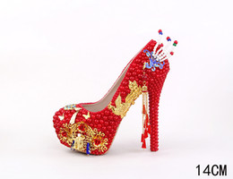 Wholesale Gold Shinning Heels - Red Pearls Cinderella Shoes with Gold Phoenix and Chians Decorated Shinning Bridal Bridesmaid Wedding Shoes Prom Evening Night Club Party
