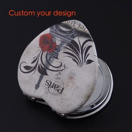 Wholesale Compact Mirror Heart Shaped - 100pcs lot Heart-shaped creative portable double-side PU leather cosmetic mirror small compact mirrors custom picture company design gift