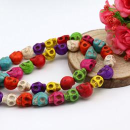 Wholesale Turquoise Skulls Bracelet - Wholesale Fashion Mixed Color Skull Beads All Size Turquoise Gemstone Loose Beads Fit Shamballa Bracelet Necklace