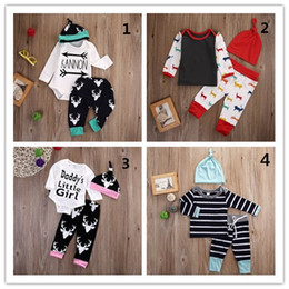 Wholesale Three Piece Suit Boy - Baby Boys Girls Clothing Set Boutique Clothes Christmas Pajamas T-shirt Romper Legging Pant Kid Infant Long Sleeve Suit Spring Autumn Outfit