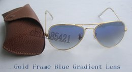 Wholesale Sun Glasses 58mm - Mens Womens Pilot Sunglasses Designer Sun Glasses Gradient Alloy Metal Gold Blue Glass Lens 58mm 62mm Original Case Box
