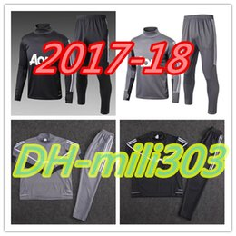 Wholesale Quality Tights - Best quality 2018 POGBA LUKAKU Survetement football man tracksuit training kits Soccer 17 18 united training shinny tight pant sweater suit