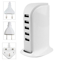 Wholesale Cell Phone Port Plugs - Universal 5V 4A 20W 5 Ports USB Wall Charger US EU UK Plug AC Power Adapter For iphone Samsung HTC LG Cell phone